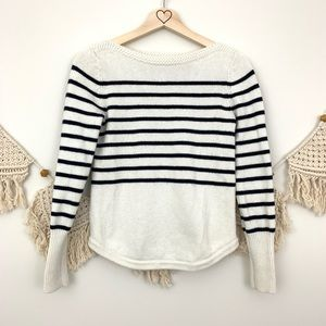 LOFT navy and white striped boat neck sweater